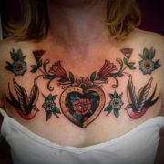 Traditional Heart & Swallow Chest piece